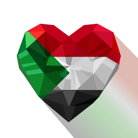 Vector crystal gem Sudanese heart with the flag of the Republic of the Sudan. Flat style icon symbol of love North Sudan. Ilustração