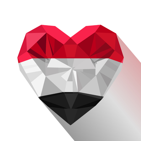 Vector crystal gem Yemeni heart with the flag of the Republic of Yemen. Flat style icon symbol of love Yemen. Ilustrace