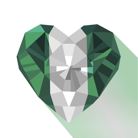 Vector crystal gem jewelry Nigerian heart with the flag of The Federal Republic of Nigeria. Flat style logo symbol of love Nigeria. West Africa.