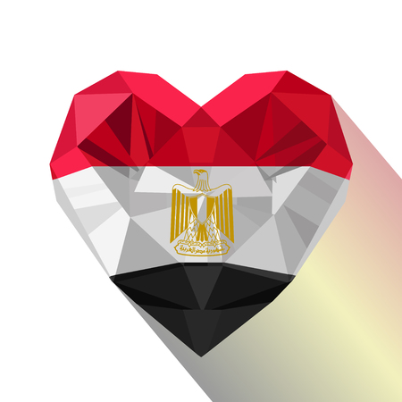 Vector crystal gem Egyptian heart with the flag of the Arab Republic of Egypt. Flat style logo symbol of love Egypt. 23 July Ilustração