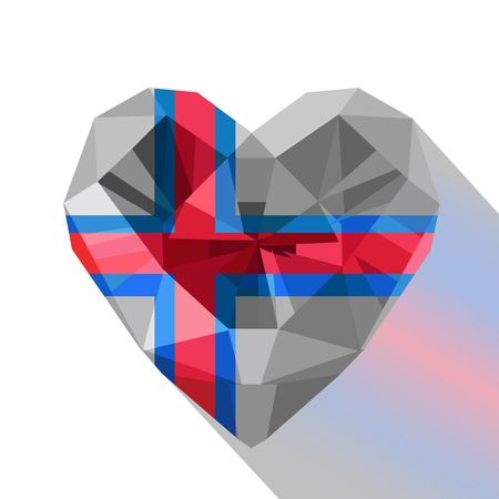 Crystal gem jewelry Faroese heart with the flag of The Faroe Islands. Flat style logo symbol of love the Faroe Islands. April 25 Europe