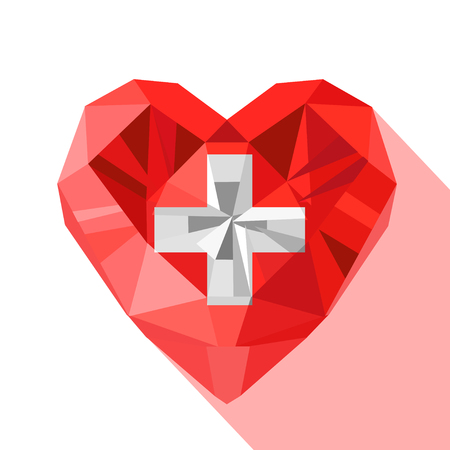 Vector crystal gem jewelry Swiss heart with the flag of the Swiss Confederation. Flat style logo symbol of love Switzerland. Europe