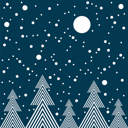 Starry night in forest vector seamless illustration.