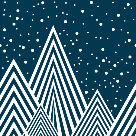 Starry night in mountains, seamless vector illustration.