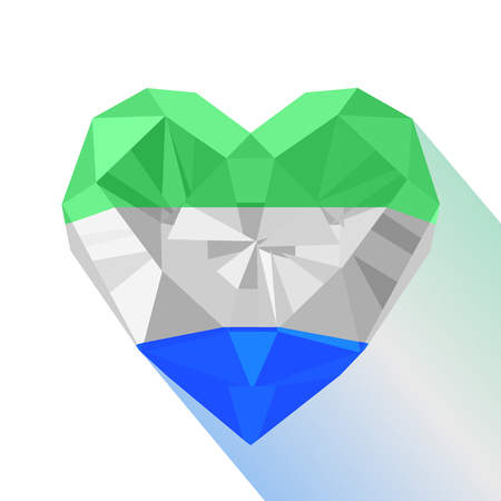 Vector crystal gem Jewelry Sierra Leonean heart with the flag of the Republic of Sierra Leone. Flat style symbol of love Sierra Leone. West Africa. 27 April Republic Day.