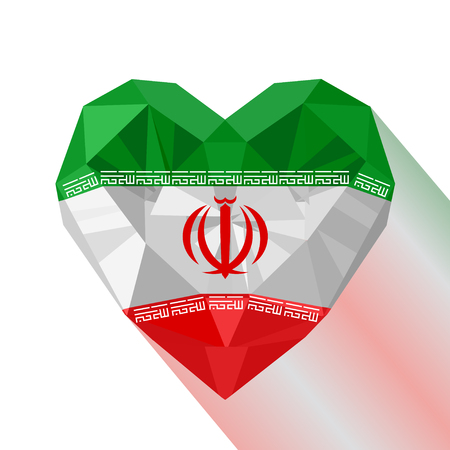 Vector crystal gem jewelry Iranian heart with the flag of the Islamic Republic of Iran. Flat style logo symbol of love Persia. Western Asia.