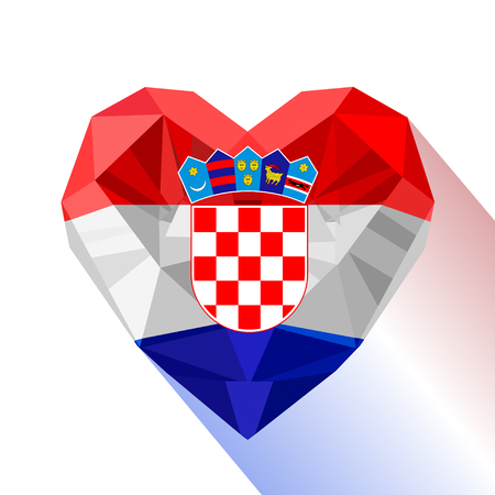 Vector crystal gem jewelry Croatian heart with the flag of the Republic of Croatia. Flat style logo symbol of love Croatia. Southeastern Europe.
