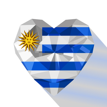Vector crystal gem jewelry Uruguayan heart with the flag of the Oriental Republic of Uruguay. Flat style logo symbol of love Uruguay. South America.