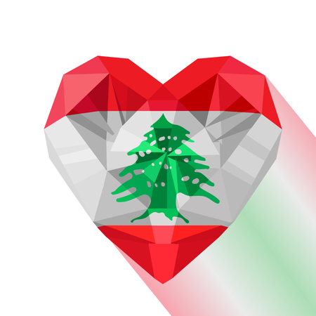 Vector crystal gem jewelry Lebanese heart with the flag of the Lebanese Republic. Flat style logo symbol of love Lebanon.