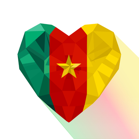 Vector crystal gem jewelry Cameroonian heart with the flag of the Republic of Cameroon. Flat style logo symbol of love Cameroon. Central Africa.