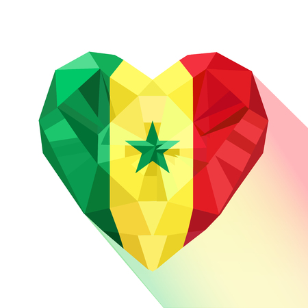 Vector crystal gem jewelry Senegalese heart with the flag of the Republic of Senegal. Flat style logo symbol of love Senegal. West Africa. Ilustração
