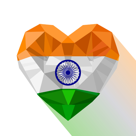 Crystal gem jewelry Indian heart with the flag of Republic of India. Flat style logo symbol of love India. Ilustração
