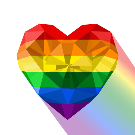 Gay pride flag. Heart shaped rainbow flag logo. LGBT love symbol. Vector crystal gem  heart with the gay flag.Coming out.  イラスト・ベクター素材