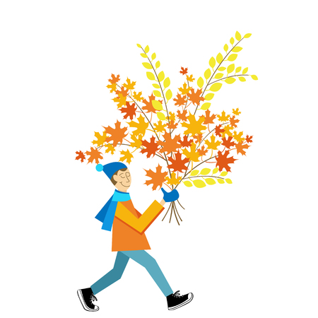 A man carrying a autumn leaves bouquet. Leaf peeping vector image. Fall leaves bundle flat vector illustration. Ilustrace