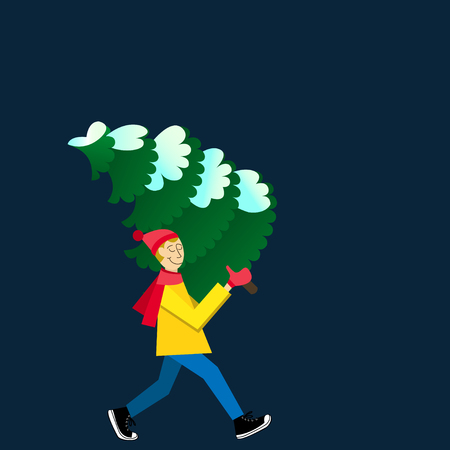 Man carrying a snowy fir-tree. Flat-style illustration. Buying christmas tree card flat design style vector graphic illustration Ilustração