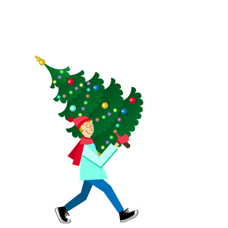 Man carrying a decorated fir-tree. Flat-style illustration. Buying christmas tree card flat design style vector graphic illustration