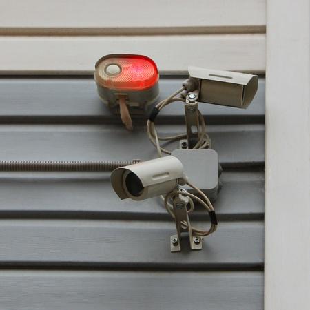 supervisi�n: Sistema de alarma y c�maras de v�deo del sistema de supervisi�n Foto de archivo
