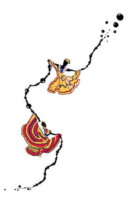 A vector of two dancers and a long chain of black beads
