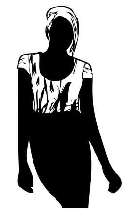 pencil skirt: A vector illustration of a woman in a printed t-shirt and black pencil skirt