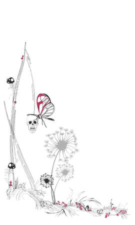 A butterfly on a hanging skull Vector
