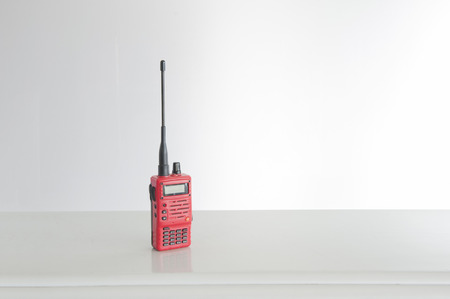 walkie talkie: red walkie talkie Stock Photo