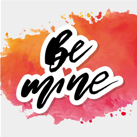 Be mine Watercolor Vector Lettering Calligraphy Design Text Heart Illustration Stock Illustratie
