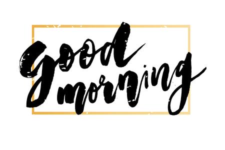 Goedemorgen belettering kalligrafie Vector tekst zin typografie gouden Frame