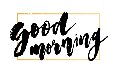 Good Morning Lettering Calligraphy Vector Text Phrase typography Gold Frame