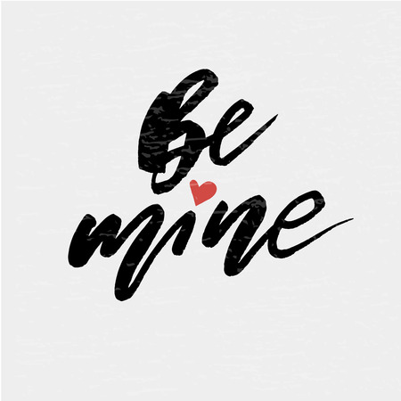 Be mine Vector Lettering Calligraphy Design Text Heart Illustration