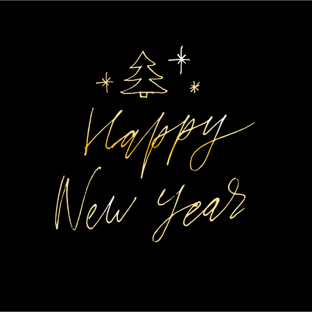 Happy New Year Vector Gradient Phrase Lettering Calligraphy Illustration Sticker Gold