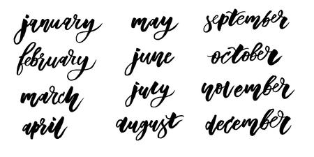 calendario Calligrafia Lettering Giorno Mese Vector Brush illustration Vettoriali