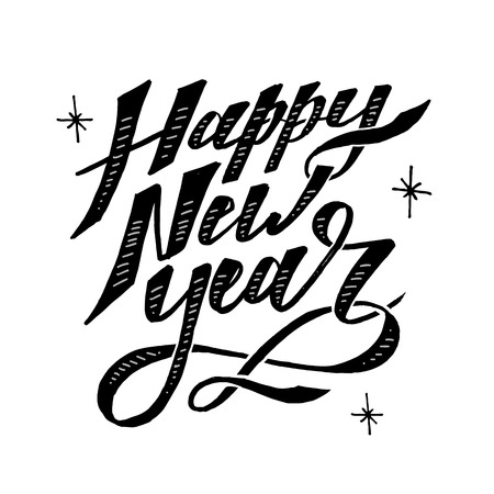 Happy New Year Vector Phrase Lettering Calligraphy Brush illustration