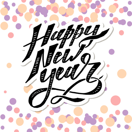 Happy New Year Vector Phrase Lettering Calligraphy Brush illustration color