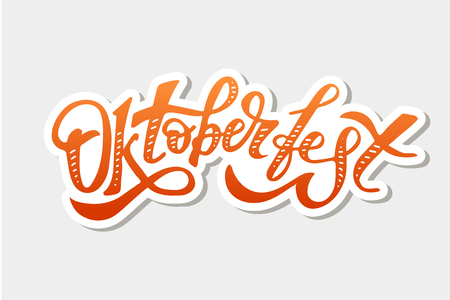 Oktoberfest lettering Calligraphy Brush Text Holiday Illustration Ilustração