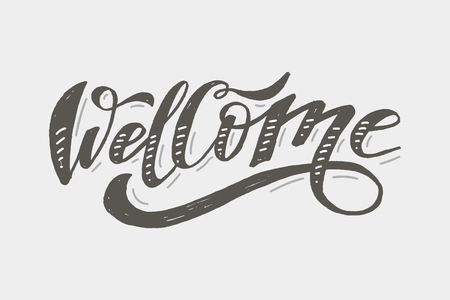 Welcome lettering Calligraphy Brush Text Holiday Vector Sticker illustration
