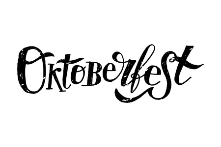 Oktoberfest lettering Calligraphy Brush Text Holiday Illustration Çizim