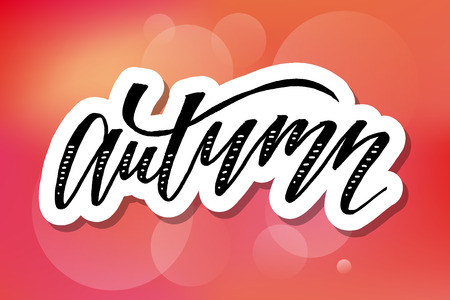 Autumn lettering Calligraphy Brush Text Holiday Vector Sticker illustration Illustration