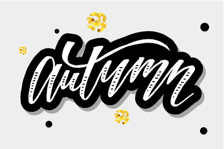 Autumn lettering Calligraphy Brush Text Holiday Vector Sticker illustration Gold