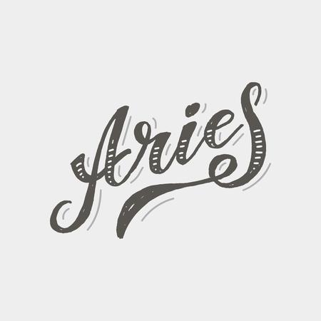 Aries lettering Calligraphy Brush Text horoscope Zodiac sign illustration