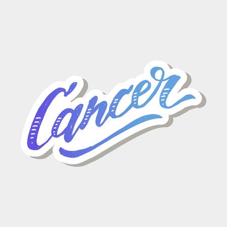 Cancer lettering Calligraphy Brush Text horoscope Zodiac sign illustration