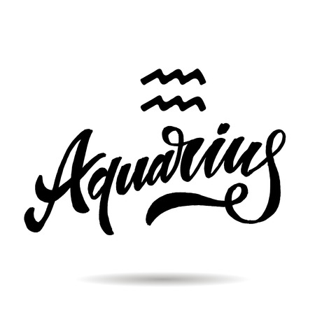 Aquarius lettering Calligraphy sign illustration