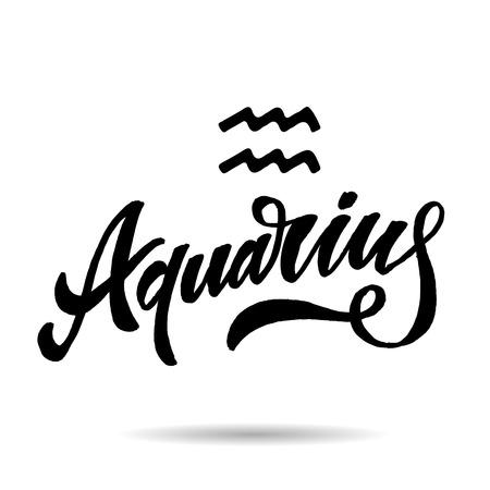 Aquarius lettering Calligraphy sign illustration