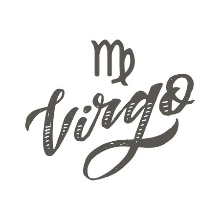 Virgo lettering Calligraphy Brush Text horoscope Zodiac sign illustration