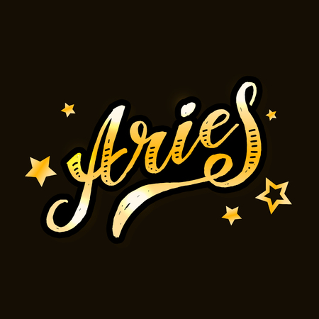 Aries lettering Calligraphy Brush Text horoscope Zodiac sign illustration