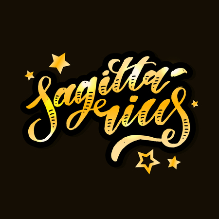 Sagittarius lettering Calligraphy vector illustration Vectores