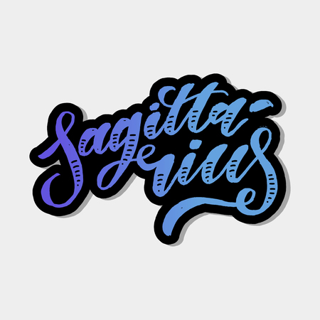 Sagittarius lettering Calligraphy Brush Text horoscope Zodiac sign illustration