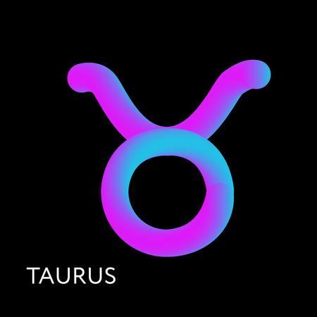 Taurus Text horoscope Zodiac sign 3D shape Gradient illustration