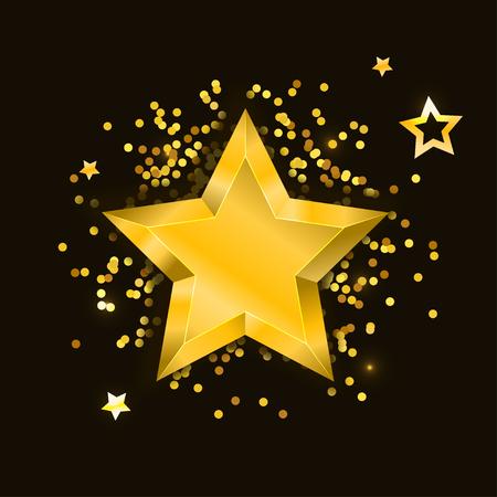 Star Vector realistic metallic golden isolated yellow 3D illustration