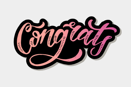 Congrats lettering Calligraphy Brush Text Holiday Vector Sticker Watercolor illustration