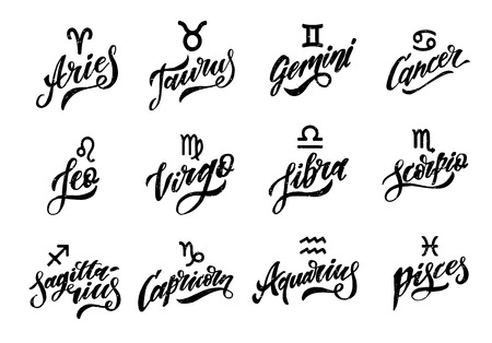 Horoscope set Lettering Calligraphy Vector Brush Text illustration astrology